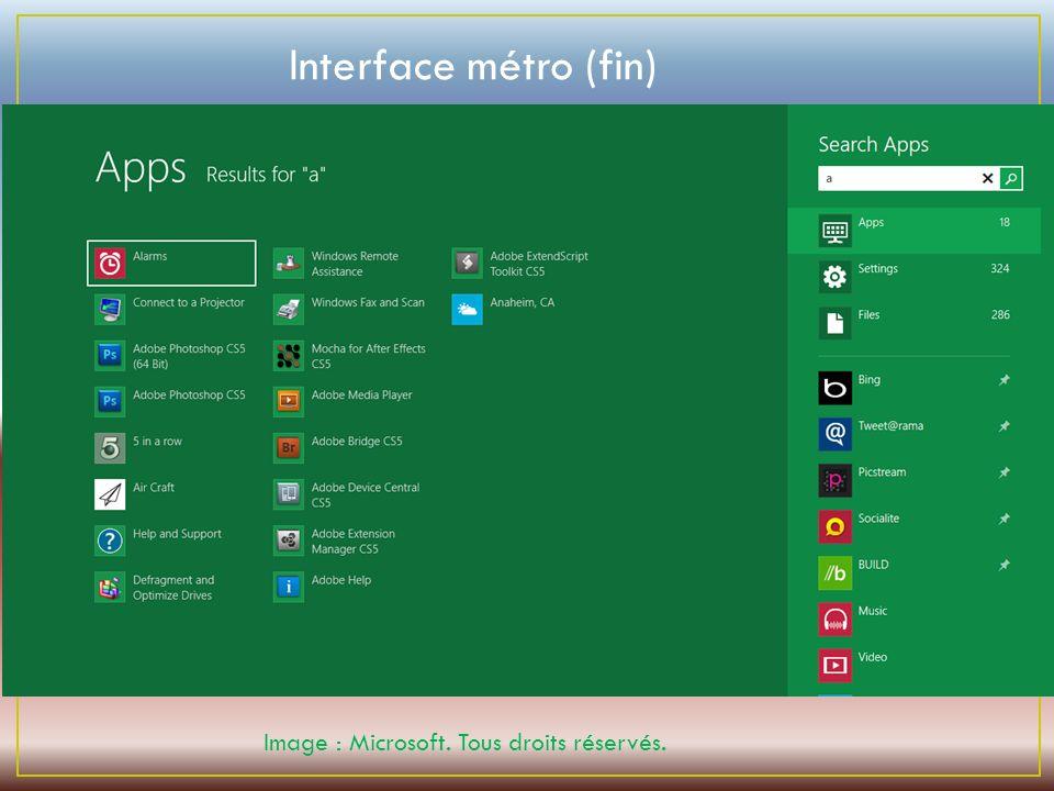 Image : Microsoft. Tous droits réservés. Interface métro (fin)