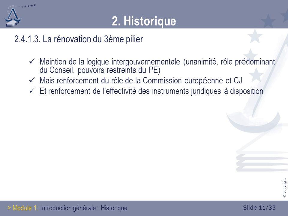 Slide 11/33 © copyright 2. Historique 2.4.1.3.