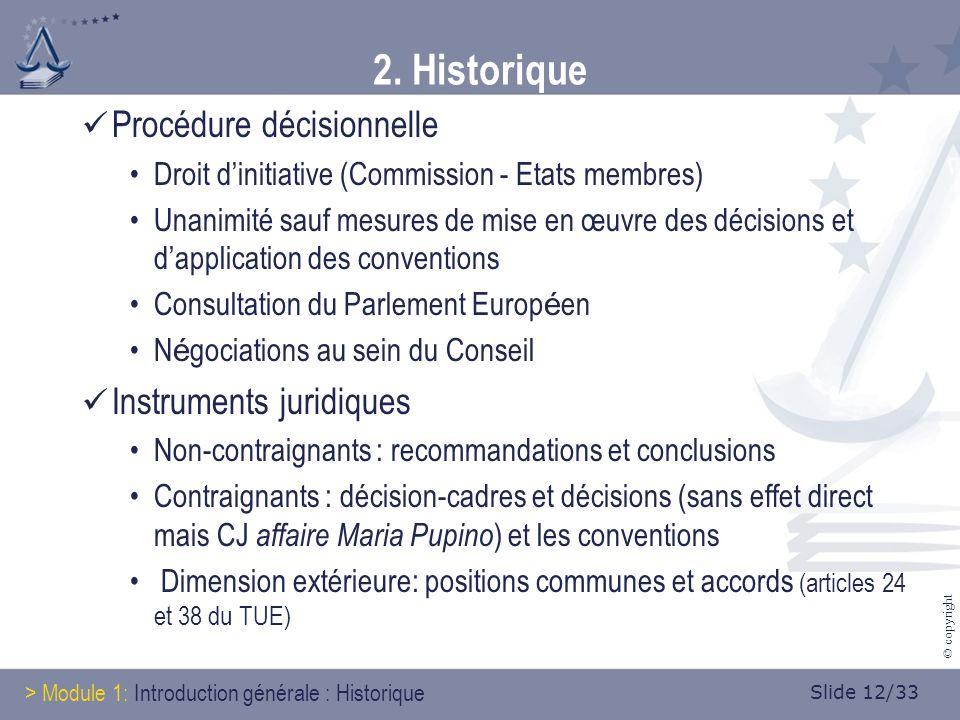 Slide 12/33 © copyright 2. Historique Procédure décisionnelle Droit dinitiative (Commission - Etats membres) Unanimité sauf mesures de mise en œuvre d