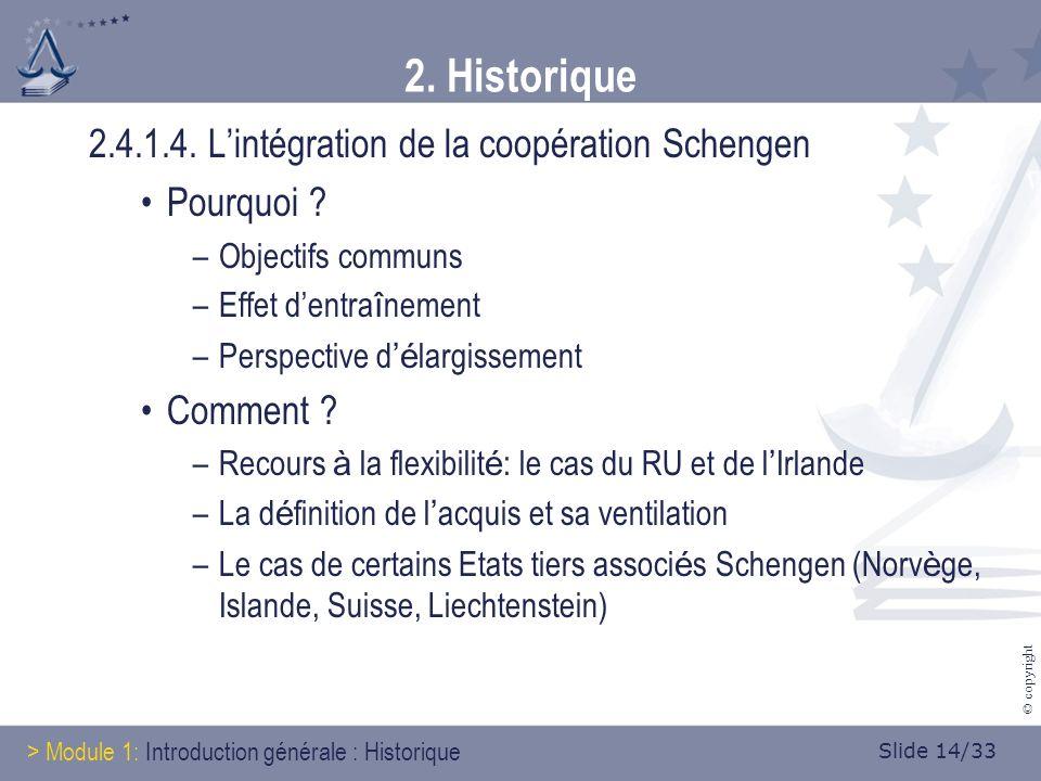 Slide 14/33 © copyright 2. Historique 2.4.1.4. Lintégration de la coopération Schengen Pourquoi .
