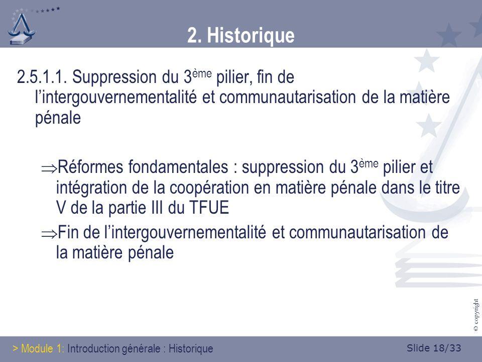 Slide 18/33 © copyright 2. Historique 2.5.1.1.