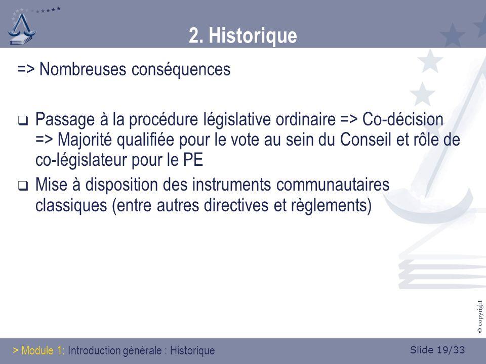 Slide 19/33 © copyright 2. Historique => Nombreuses conséquences Passage à la procédure législative ordinaire => Co-décision => Majorité qualifiée pou