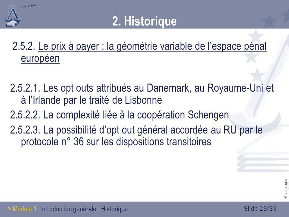 Slide 23/33 © copyright 2. Historique 2.5.2.