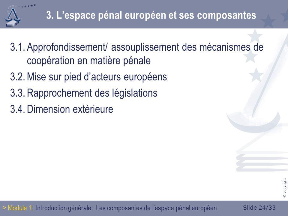Slide 24/33 © copyright 3. Lespace pénal européen et ses composantes 3.1.Approfondissement/ assouplissement des mécanismes de coopération en matière p