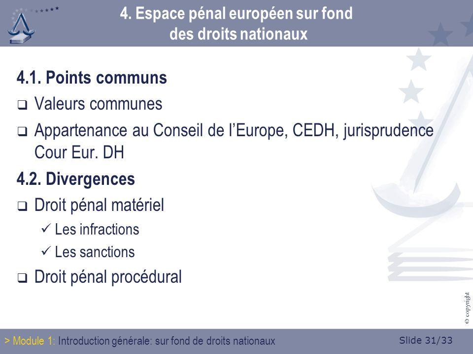 Slide 31/33 © copyright 4. Espace pénal européen sur fond des droits nationaux 4.1.