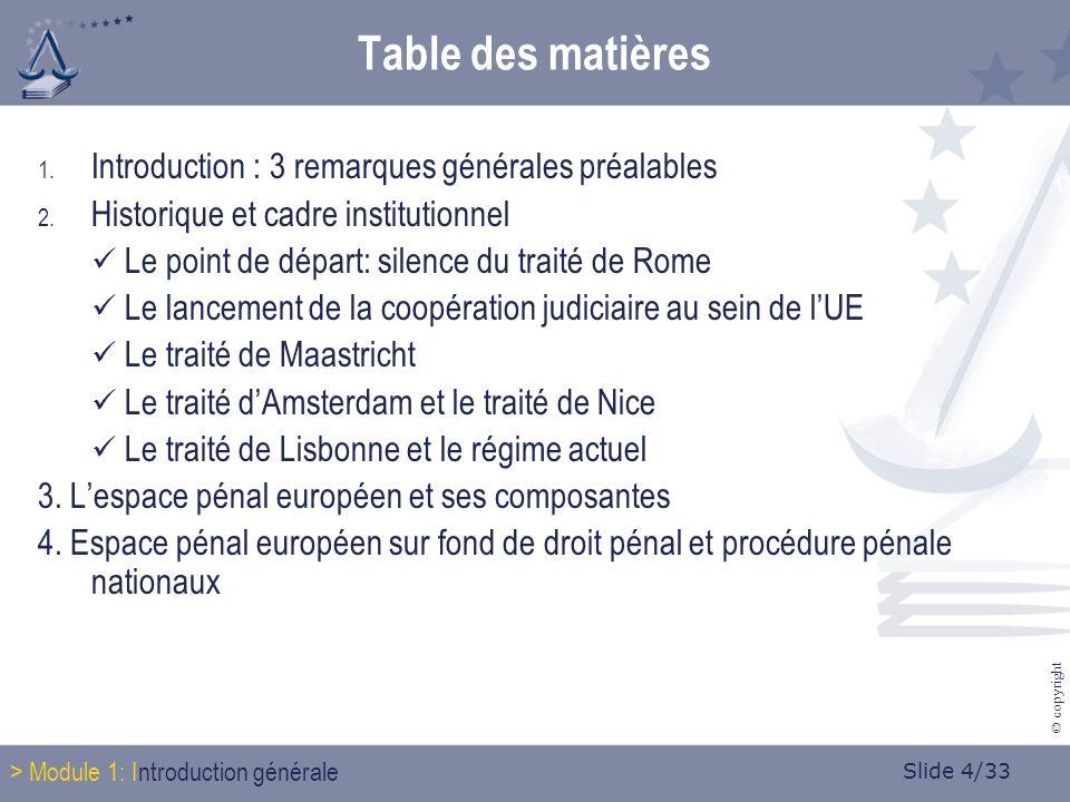 Slide 4/33 © copyright Table des matières 1. Introduction : 3 remarques générales préalables 2.