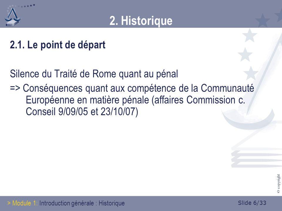 Slide 6/33 © copyright 2. Historique 2.1.