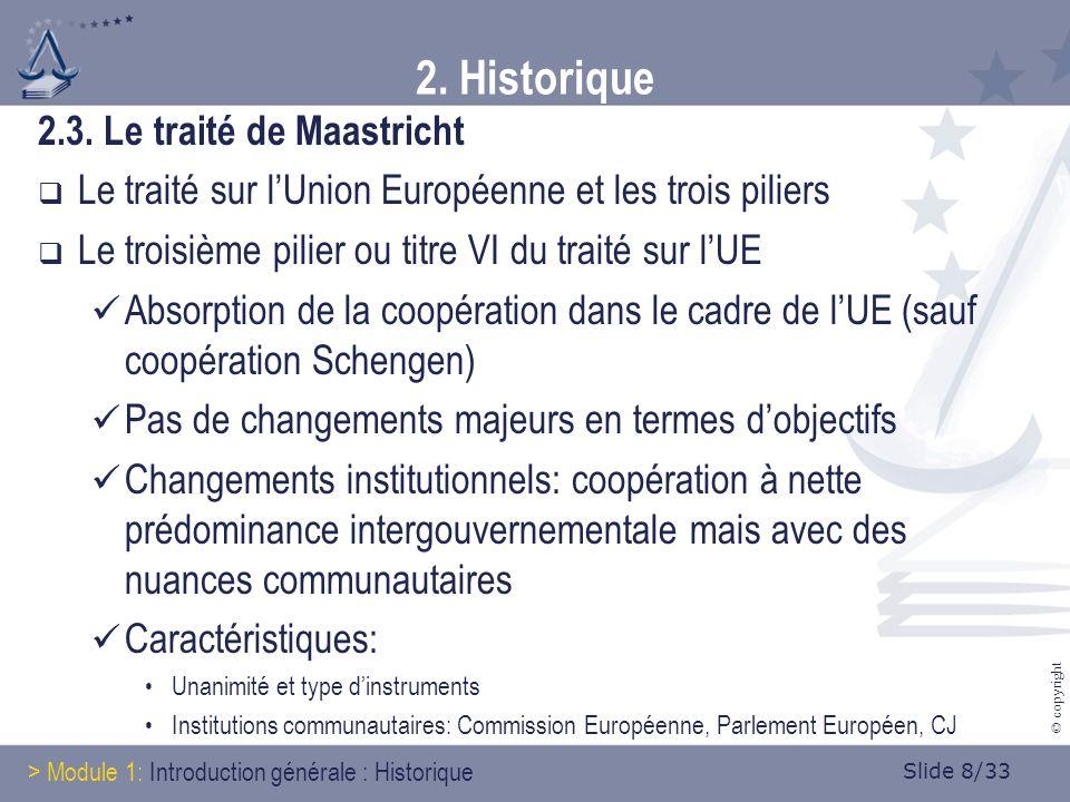 Slide 8/33 © copyright 2. Historique 2.3.