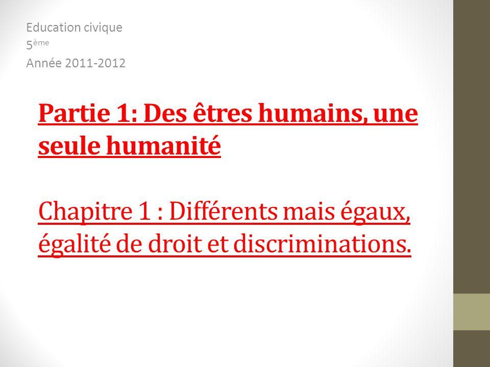 Partie 1: Des êtres humains, une seule humanité Chapitre 1 : Différents mais égaux, égalité de droit et discriminations. Education civique 5 ème Année