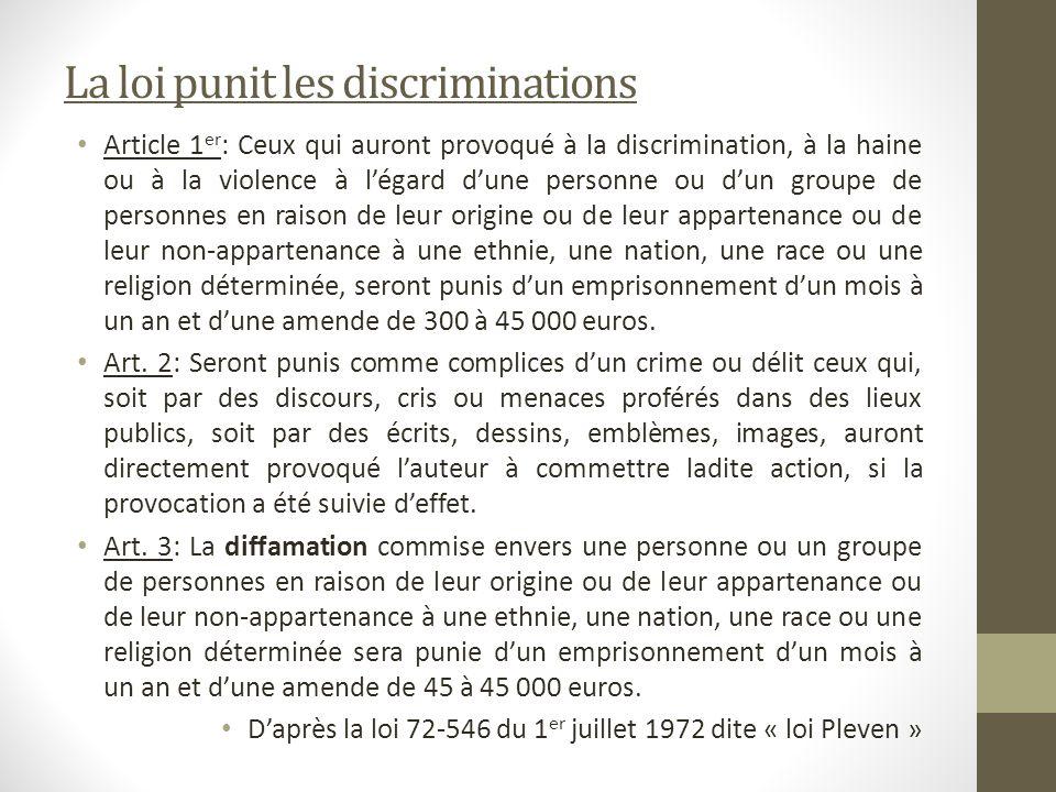 La loi punit les discriminations Article 1 er : Ceux qui auront provoqué à la discrimination, à la haine ou à la violence à légard dune personne ou du