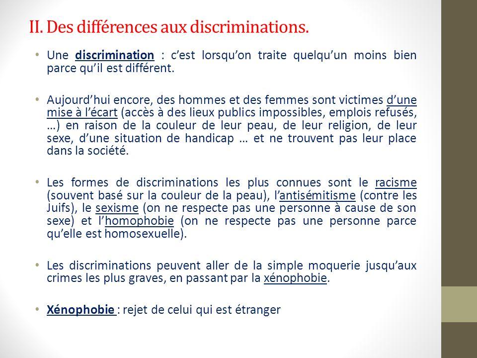 II. Des différences aux discriminations. Une discrimination : cest lorsquon traite quelquun moins bien parce quil est différent. Aujourdhui encore, de