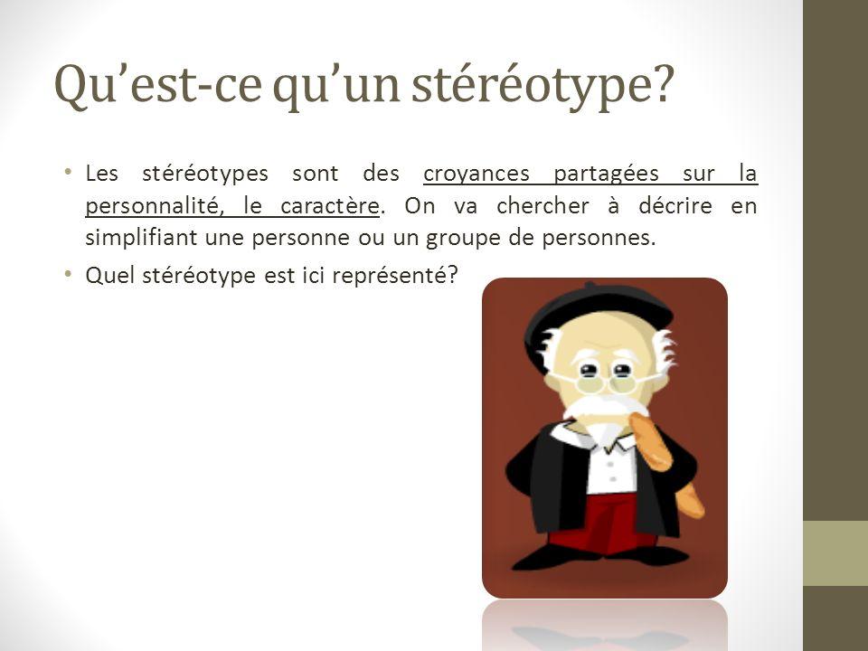 Quest-ce quun stéréotype? Les stéréotypes sont des croyances partagées sur la personnalité, le caractère. On va chercher à décrire en simplifiant une