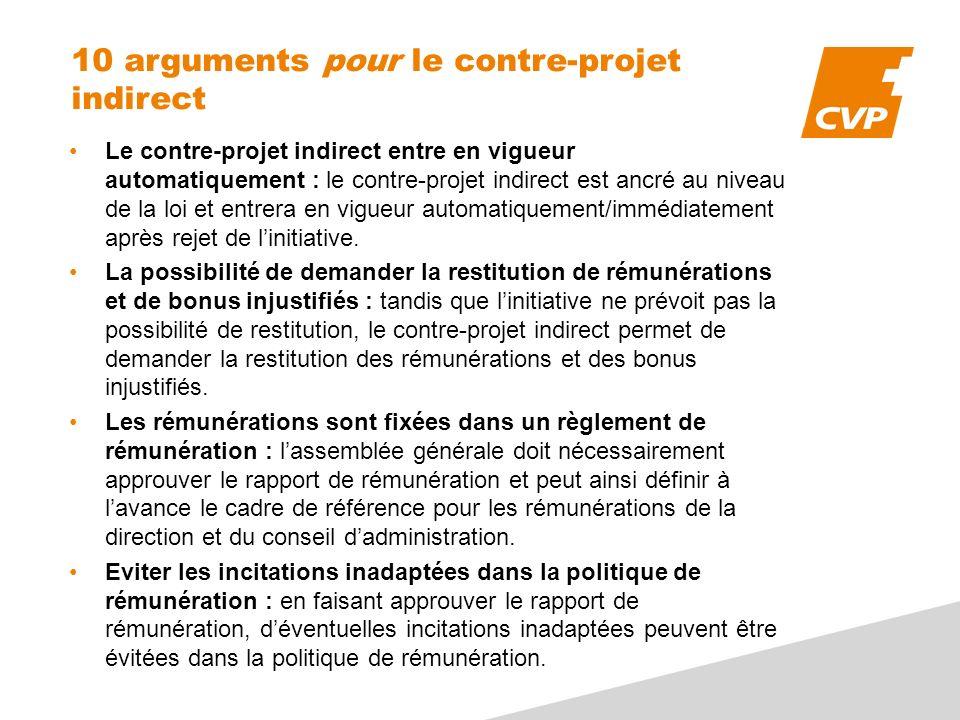 10 arguments pour le contre-projet indirect Le contre-projet indirect entre en vigueur automatiquement : le contre-projet indirect est ancré au niveau de la loi et entrera en vigueur automatiquement/immédiatement après rejet de linitiative.