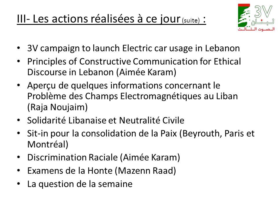 III- Les actions réalisées à ce jour (suite) : 3V campaign to launch Electric car usage in Lebanon Principles of Constructive Communication for Ethica