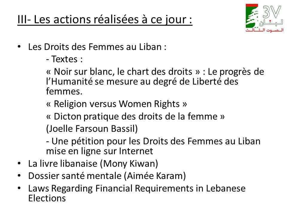 III- Les actions réalisées à ce jour : Les Droits des Femmes au Liban : - Textes : « Noir sur blanc, le chart des droits » : Le progrès de lHumanité se mesure au degré de Liberté des femmes.