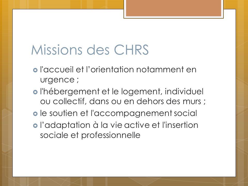 Missions des CHRS l'accueil et lorientation notamment en urgence ; l'hébergement et le logement, individuel ou collectif, dans ou en dehors des murs ;