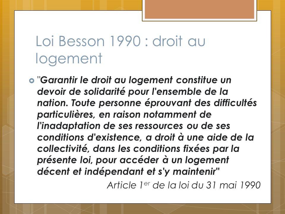 Loi Besson 1990 : droit au logement