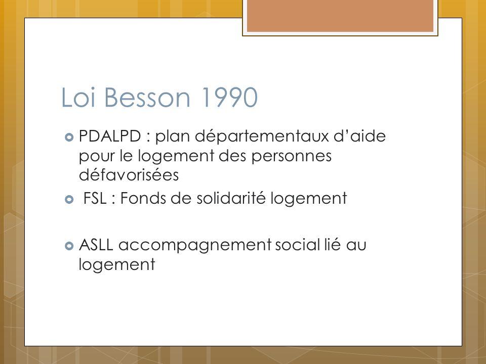 Loi Besson 1990 PDALPD : plan départementaux daide pour le logement des personnes défavorisées FSL : Fonds de solidarité logement ASLL accompagnement