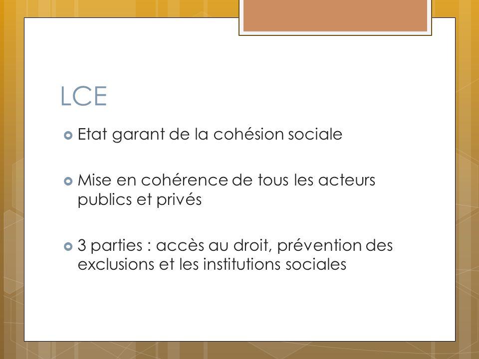 LCE Etat garant de la cohésion sociale Mise en cohérence de tous les acteurs publics et privés 3 parties : accès au droit, prévention des exclusions e