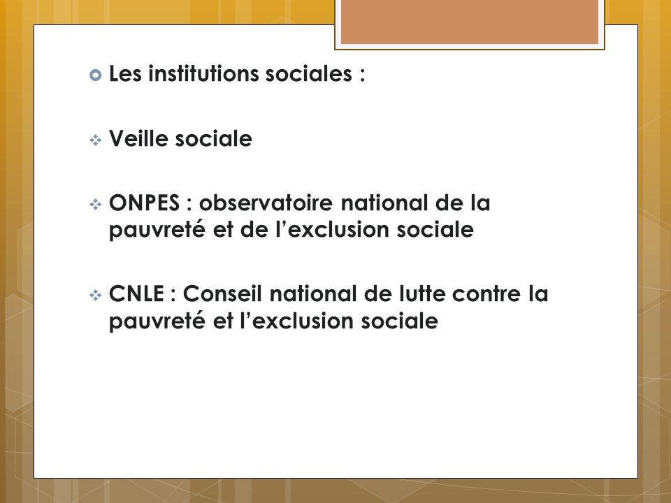 Les institutions sociales : Veille sociale ONPES : observatoire national de la pauvreté et de lexclusion sociale CNLE : Conseil national de lutte cont
