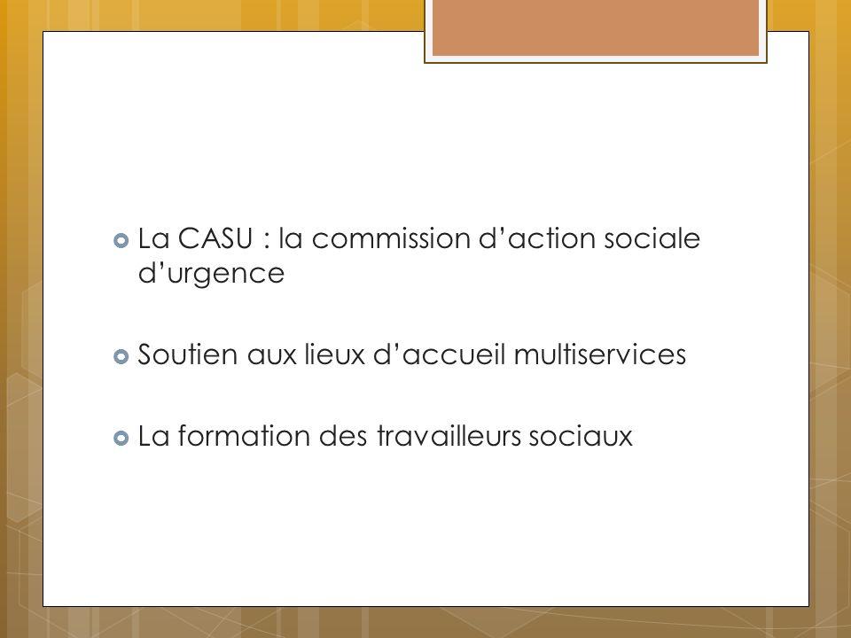 La CASU : la commission daction sociale durgence Soutien aux lieux daccueil multiservices La formation des travailleurs sociaux