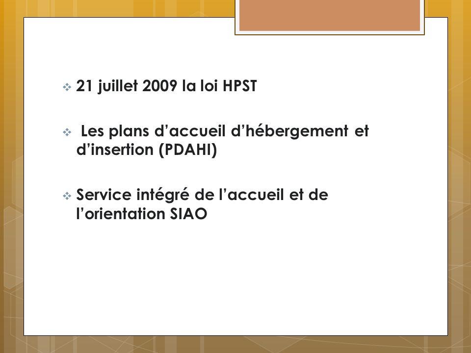 21 juillet 2009 la loi HPST Les plans daccueil dhébergement et dinsertion (PDAHI) Service intégré de laccueil et de lorientation SIAO