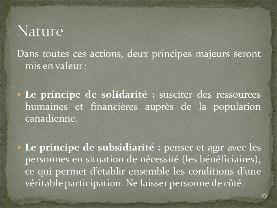 Dans toutes ces actions, deux principes majeurs seront mis en valeur : Le principe de solidarité : susciter des ressources humaines et financières auprès de la population canadienne.