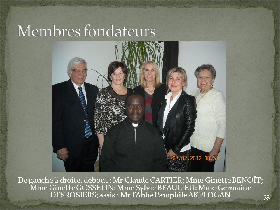 De gauche à droite, debout : Mr Claude CARTIER; Mme Ginette BENOÎT; Mme Ginette GOSSELIN; Mme Sylvie BEAULIEU; Mme Germaine DESROSIERS; assis : Mr lAbbé Pamphile AKPLOGAN 33
