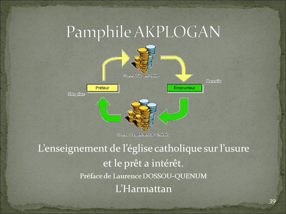 Lenseignement de léglise catholique sur lusure et le prêt a intérêt.
