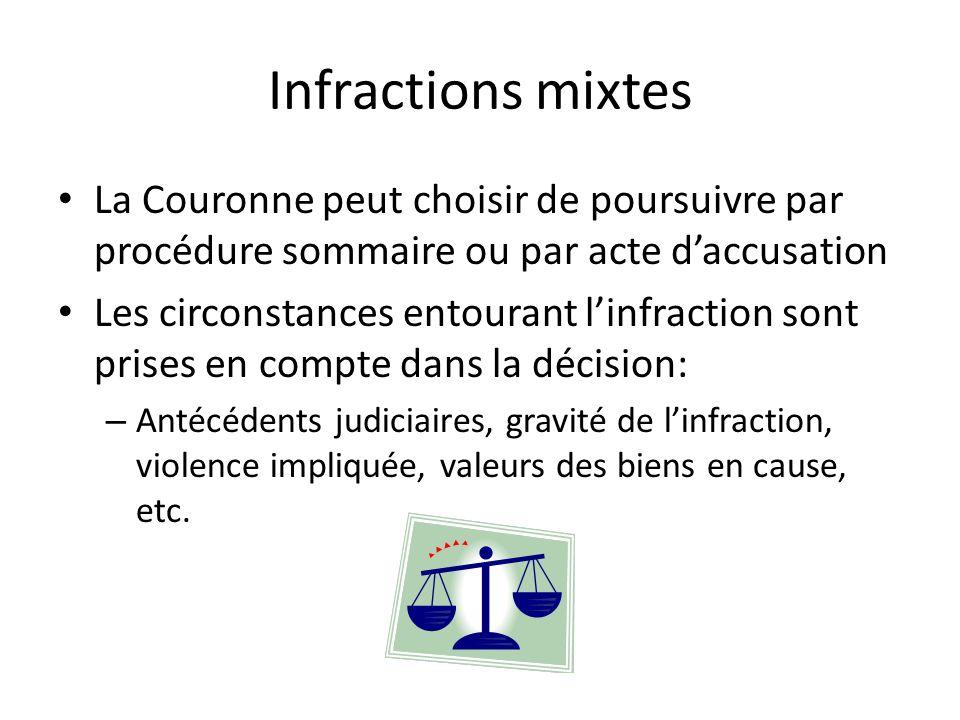 Infractions mixtes La Couronne peut choisir de poursuivre par procédure sommaire ou par acte daccusation Les circonstances entourant linfraction sont