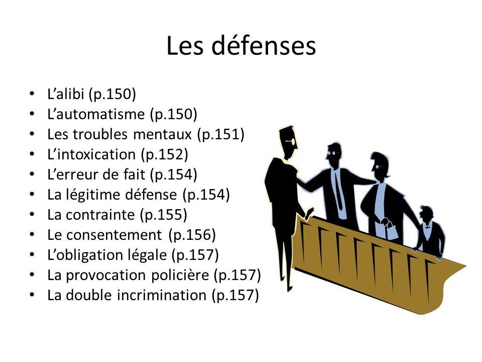Les défenses Lalibi (p.150) Lautomatisme (p.150) Les troubles mentaux (p.151) Lintoxication (p.152) Lerreur de fait (p.154) La légitime défense (p.154) La contrainte (p.155) Le consentement (p.156) Lobligation légale (p.157) La provocation policière (p.157) La double incrimination (p.157)