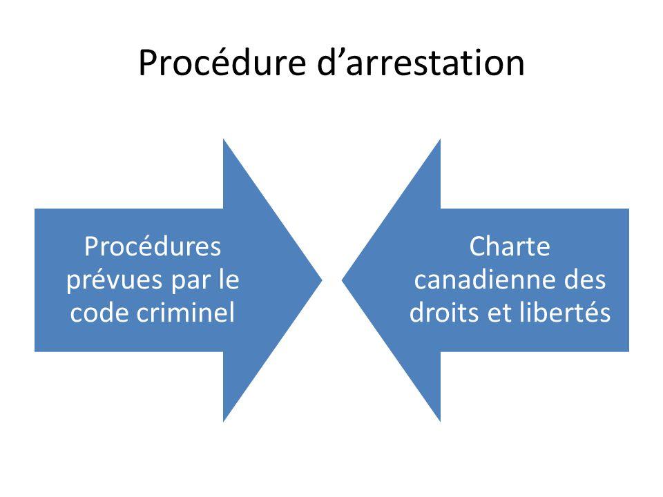 Procédure darrestation Procédures prévues par le code criminel Charte canadienne des droits et libertés