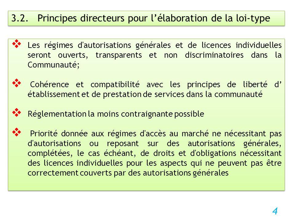 4 3.2. Principes directeurs pour lélaboration de la loi-type Les régimes d'autorisations générales et de licences individuelles seront ouverts, transp
