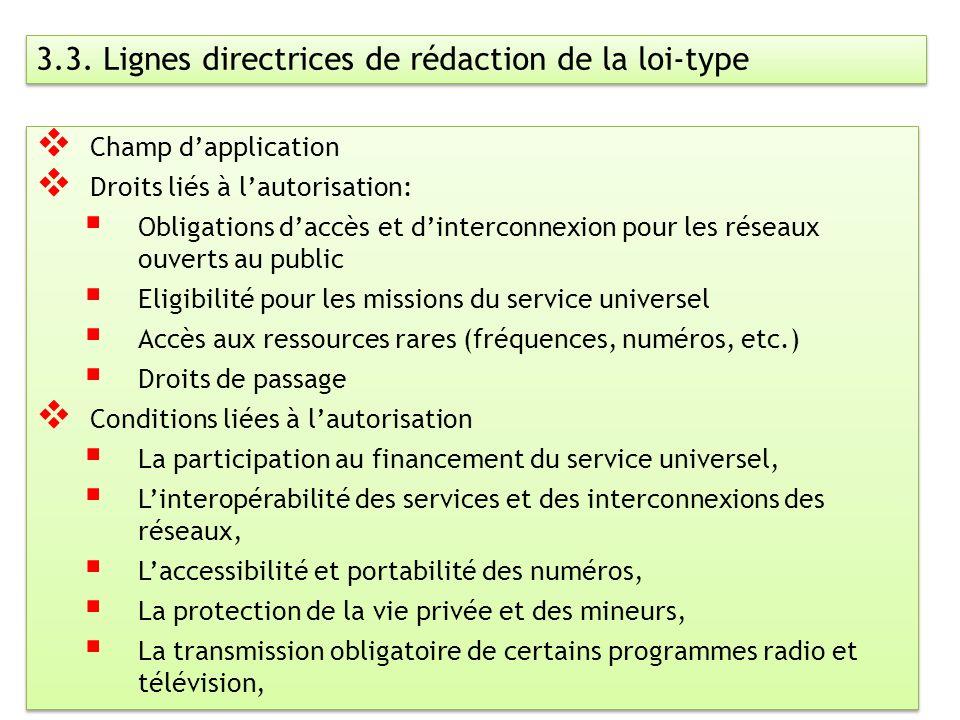 6 3.3. Lignes directrices de rédaction de la loi-type Champ dapplication Droits liés à lautorisation: Obligations daccès et dinterconnexion pour les r