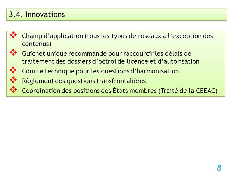 8 3.4. Innovations Champ dapplication (tous les types de réseaux à lexception des contenus) Guichet unique recommandé pour raccourcir les délais de tr