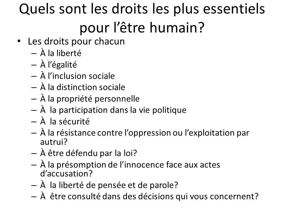 Quels sont les droits les plus essentiels pour lêtre humain? Les droits pour chacun – À la liberté – À légalité – À linclusion sociale – À la distinct
