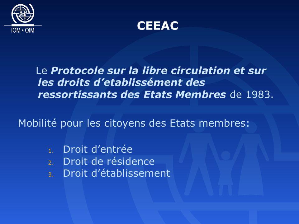 CEEAC Le Protocole sur la libre circulation et sur les droits detablissément des ressortissants des Etats Membres de 1983.