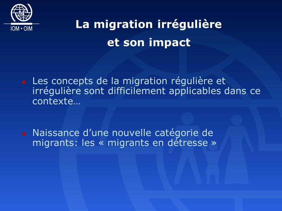 La migration irrégulière et son impact Les concepts de la migration régulière et irrégulière sont difficilement applicables dans ce contexte… Naissance dune nouvelle catégorie de migrants: les « migrants en détresse »