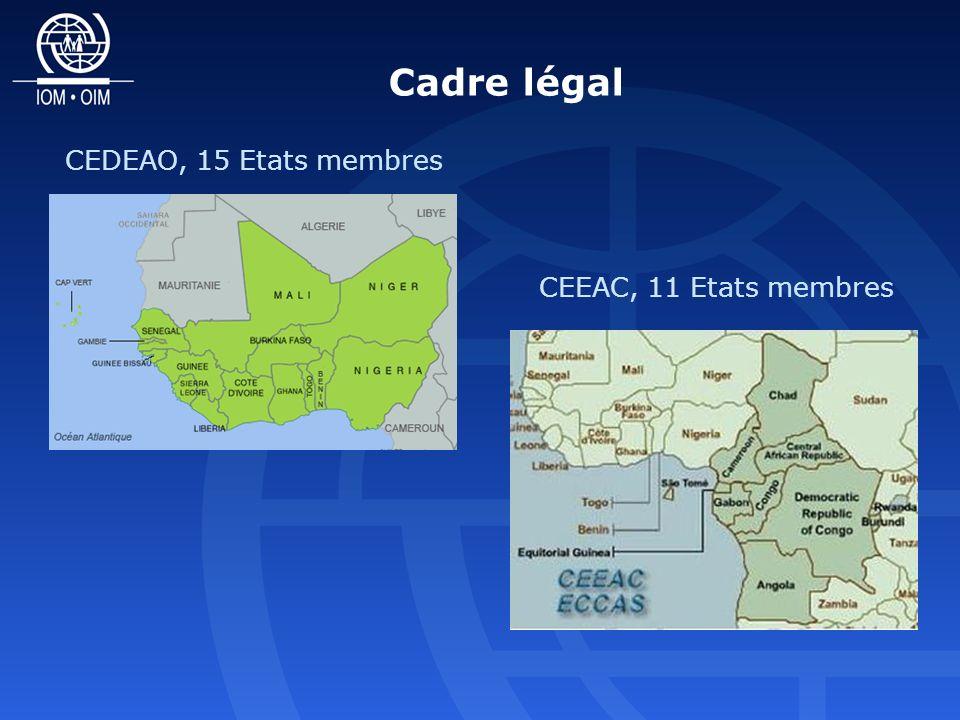 Cadre légal CEDEAO, 15 Etats membres CEEAC, 11 Etats membres