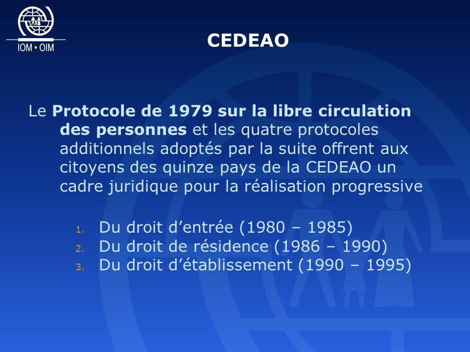 CEDEAO Le Protocole de 1979 sur la libre circulation des personnes et les quatre protocoles additionnels adoptés par la suite offrent aux citoyens des quinze pays de la CEDEAO un cadre juridique pour la réalisation progressive 1.