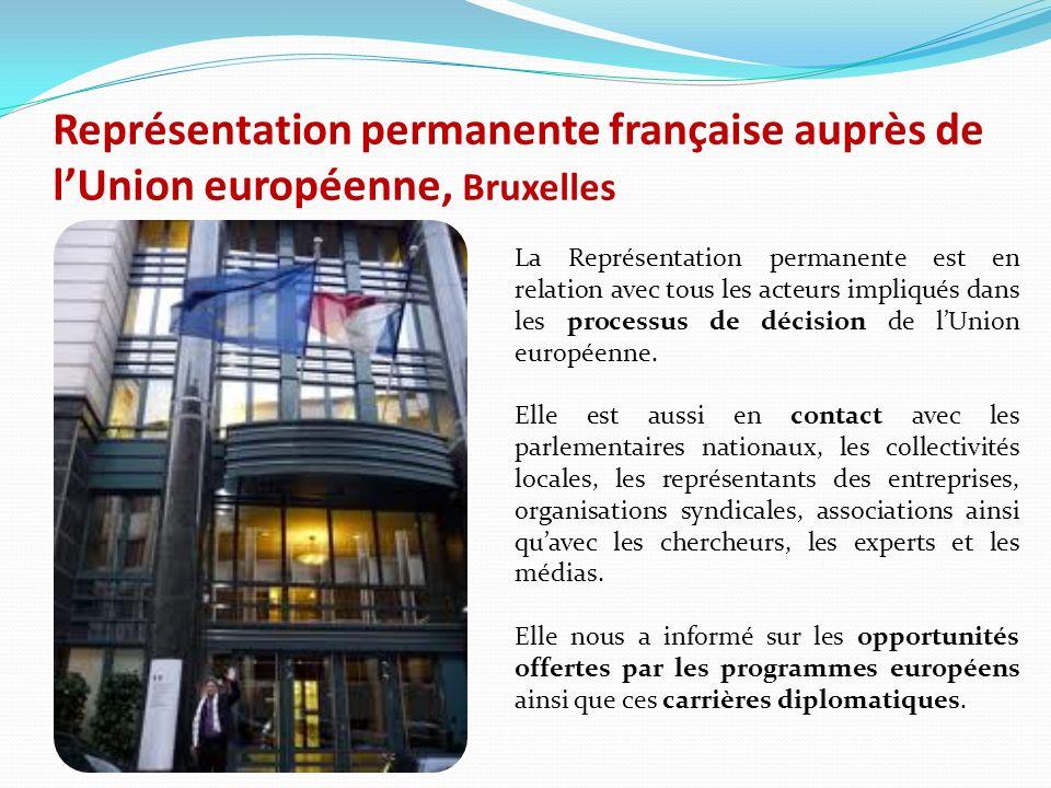 Représentation permanente française auprès de lUnion européenne, Bruxelles La Représentation permanente est en relation avec tous les acteurs impliqués dans les processus de décision de lUnion européenne.