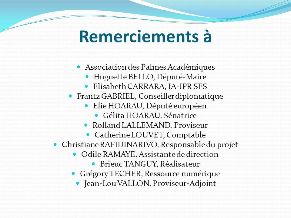 Remerciements à Association des Palmes Académiques Huguette BELLO, Député-Maire Elisabeth CARRARA, IA-IPR SES Frantz GABRIEL, Conseiller diplomatique Elie HOARAU, Député européen Gélita HOARAU, Sénatrice Rolland LALLEMAND, Proviseur Catherine LOUVET, Comptable Christiane RAFIDINARIVO, Responsable du projet Odile RAMAYE, Assistante de direction Brieuc TANGUY, Réalisateur Grégory TECHER, Ressource numérique Jean-Lou VALLON, Proviseur-Adjoint