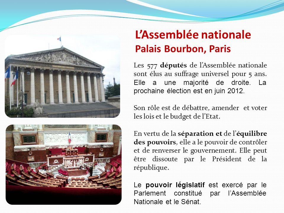 LAssemblée nationale Palais Bourbon, Paris Les 577 députés de lAssemblée nationale sont élus au suffrage universel pour 5 ans.