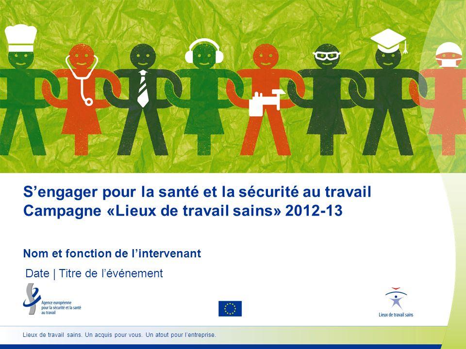 Sengager pour la santé et la sécurité au travail Campagne «Lieux de travail sains» 2012-13 Nom et fonction de lintervenant Date | Titre de lévénement
