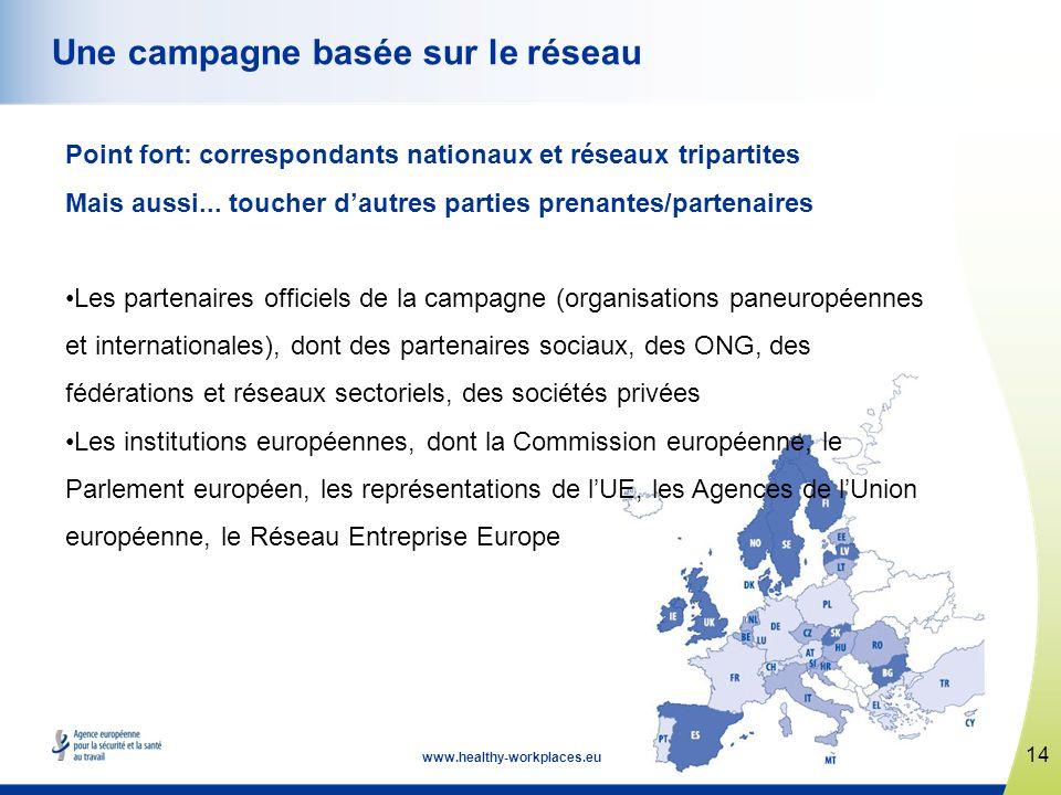 14 www.healthy-workplaces.eu Une campagne basée sur le réseau Point fort: correspondants nationaux et réseaux tripartites Mais aussi... toucher dautre