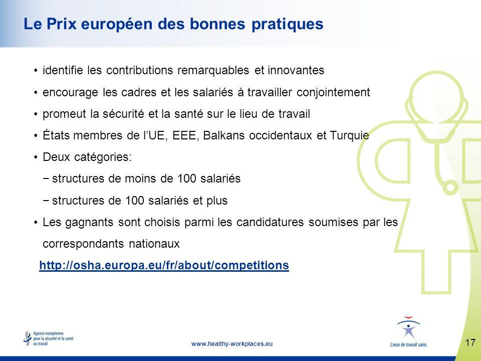 17 www.healthy-workplaces.eu Le Prix européen des bonnes pratiques identifie les contributions remarquables et innovantes encourage les cadres et les