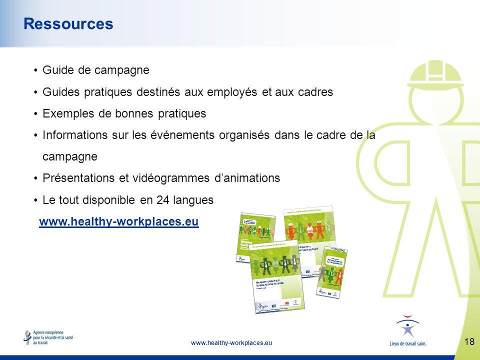 18 www.healthy-workplaces.eu Ressources Guide de campagne Guides pratiques destinés aux employés et aux cadres Exemples de bonnes pratiques Informatio