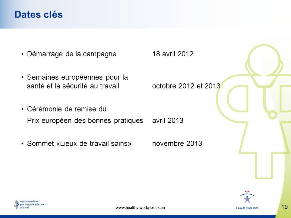 Démarrage de la campagne 18 avril 2012 Semaines européennes pour la santé et la sécurité au travail octobre 2012 et 2013 Cérémonie de remise du Prix e