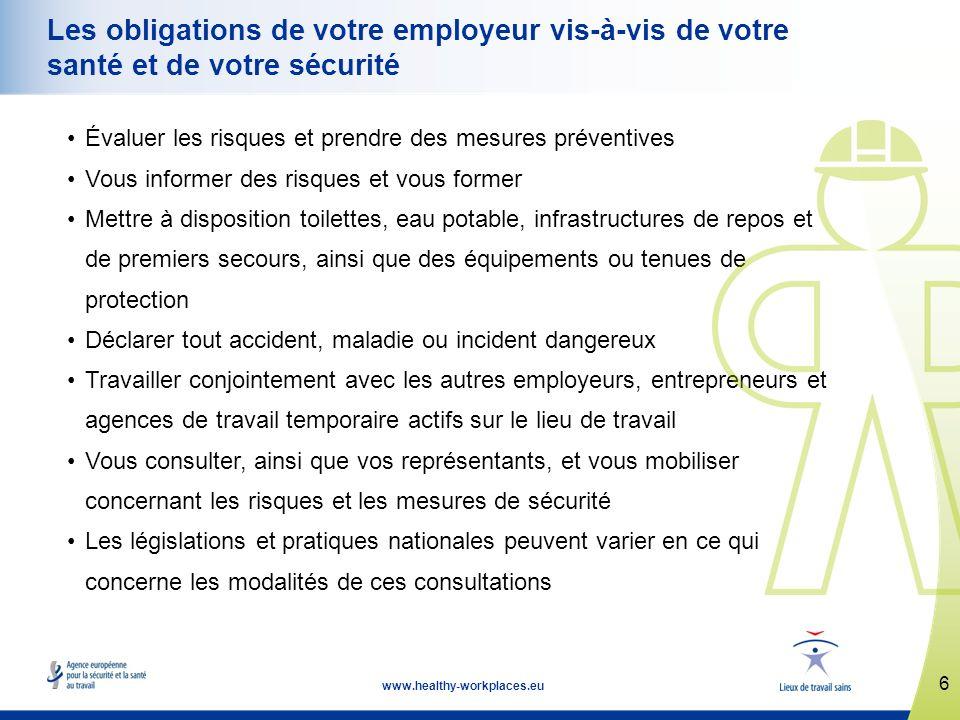 6 www.healthy-workplaces.eu Les obligations de votre employeur vis-à-vis de votre santé et de votre sécurité Évaluer les risques et prendre des mesure