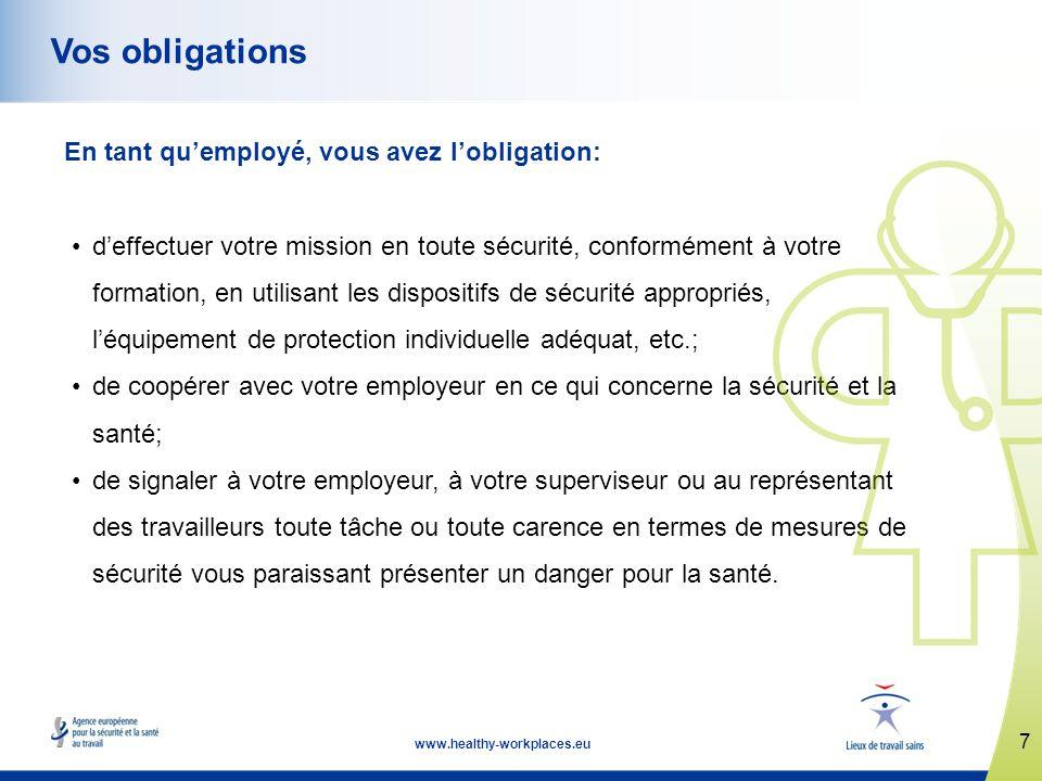 7 www.healthy-workplaces.eu Vos obligations En tant quemployé, vous avez lobligation: deffectuer votre mission en toute sécurité, conformément à votre